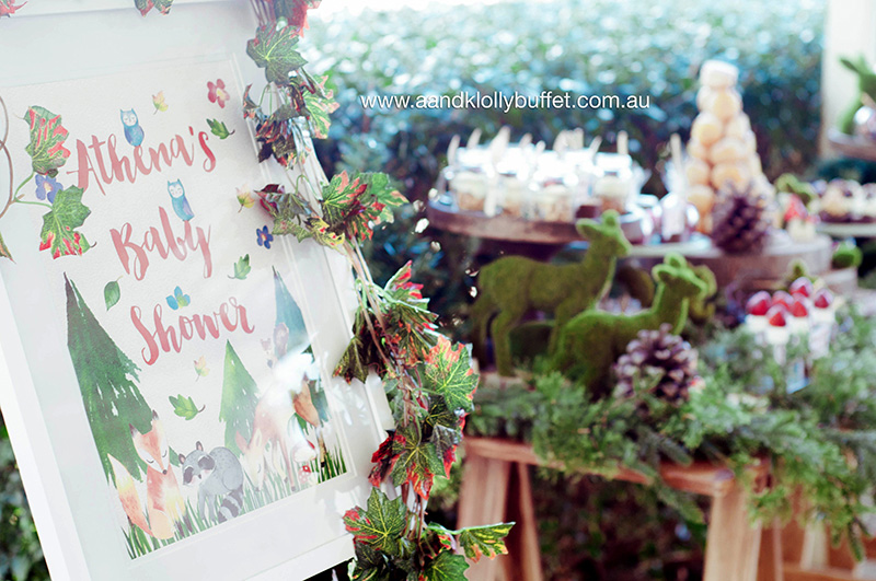 Athena's Woodland forest themed Baby Shower by A&K Lolly Buffet