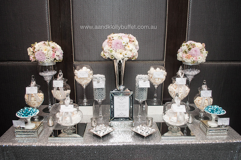 Danielle & Jeffrey's Elegant Wedding Sweets Table by A&K Lolly Buffet
