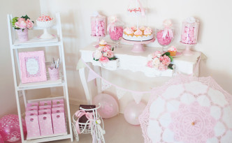 Reina's Pretty in Pastel Pink 18th Birthday dessert table by A&K Lolly Buffet