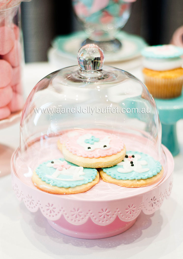Si'i's Pink & Blue Baby Shower dessert table by A&K Lolly Buffet