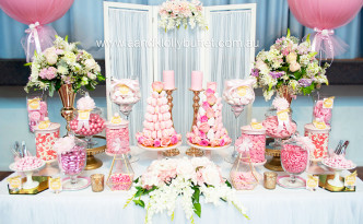 Margarita's Pink & Gold Christening dessert table by A&K Lolly Buffet