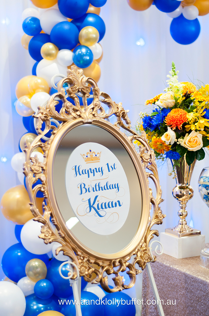Kiaan's Royal Blue & Gold 1st Birthday dessert table by A&K Lolly Buffet