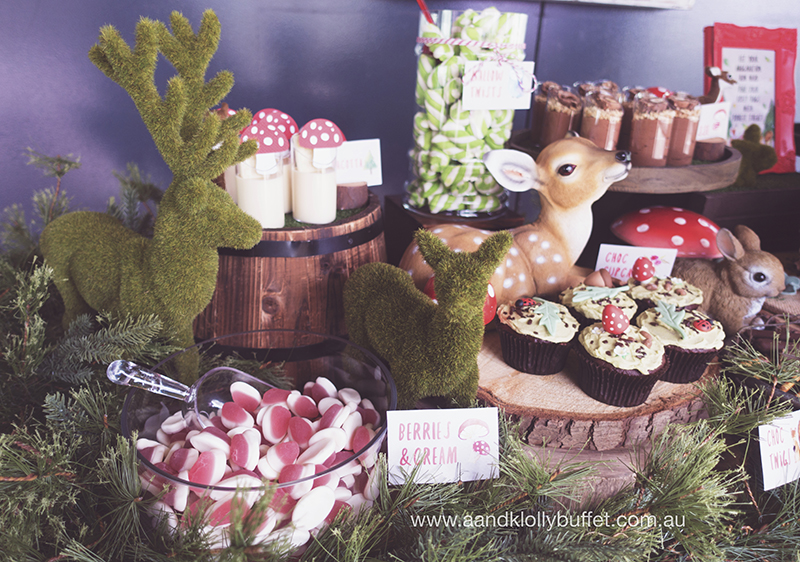 Amelia's Woodland themed birthday dessert table by A&K Lolly Buffet