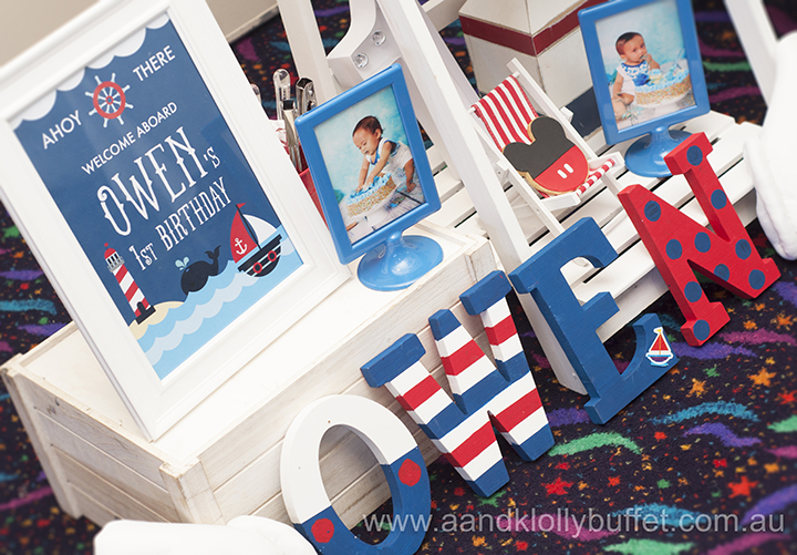 Owen's Nautical Mickey themed 1st Birthday party by A&K Lolly Buffet